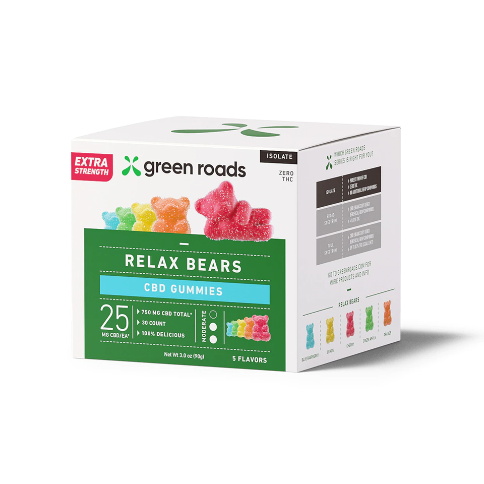 Green Roads Relax Bears 25mg Extra Strength CBD Gummy Bears